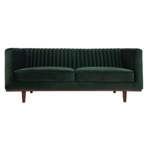 Sofa color green velvet- rental furniture in Paris France
