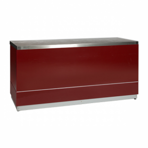 Bar red with stainless steel tabletop-Rental-furniture in Paris-France