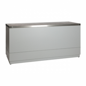 Bar silver grey with stainless steel tabletop-Rental-furniture in Paris-France