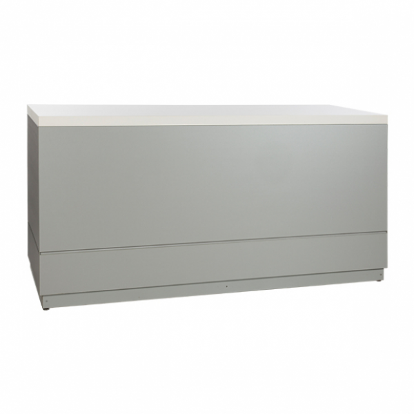 Bar silver grey with white tabletop- Rental-furniture in Paris-France