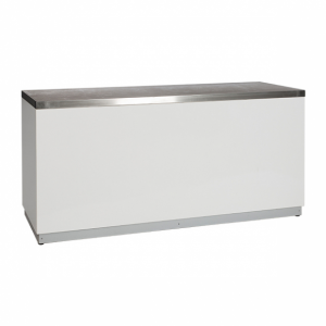 Bar white with stainless steel tabletop-Design Events Furniture in Paris-France