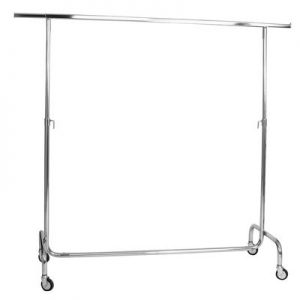 Silver Metal Folding Garment Rack Show room Rental-furniture in Paris-France