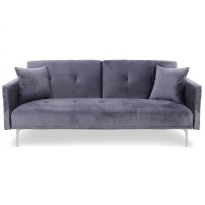 Sofa velours_grey -Rental-furniture in Paris-France
