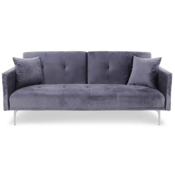 Sofa velours_grey -Rental-furniture in Paris-France
