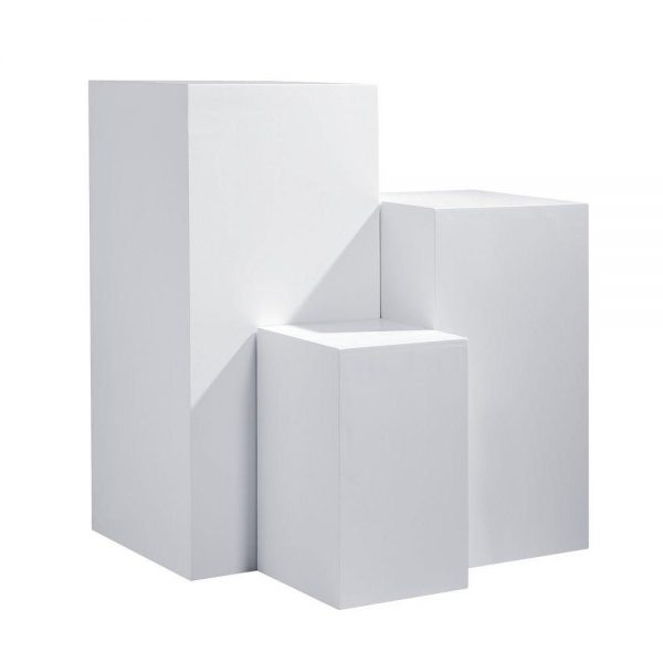 Plinths-for-hire white. pedestal Expo Rental-furniture in Paris-France