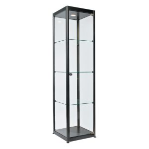 Showcase Tallboy black.Rental-furniture hire in Paris-France