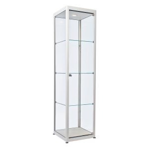Showcase Tallboy white.Rental-furniture hire in Paris-France
